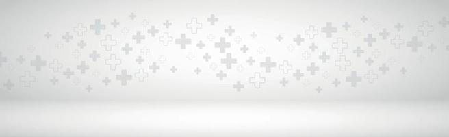 Panorama de fond gris volumétrique médical avec de nombreuses croix vecteur