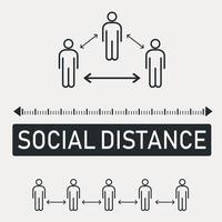 nouvelle tendance mondiale distance sociale, conséquences de la pandémie - vecteur