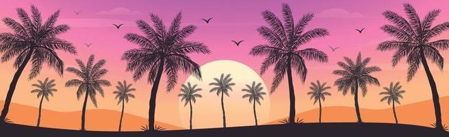 coucher de soleil sur la plage avec des palmiers vecteur