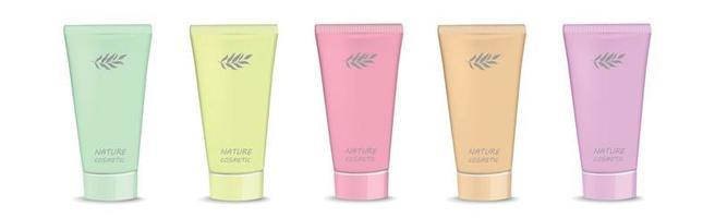 tubes multicolores de cosmétiques naturels à la crème - vecteur