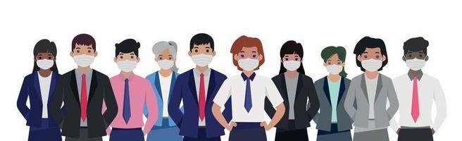 groupe de personnes dans des masques médicaux stériles - vecteur