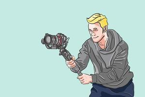 l'homme tenant la caméra avec des accessoires de cardan pour toute production, le vidéaste posant l'action, le caméraman avec l'action de cinéma, le contributeur fait n'importe quel contenu, l'illustration vectorielle plane du cinéaste. vecteur