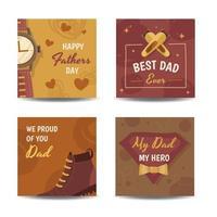 collection de cartes de fête des pères classique vecteur