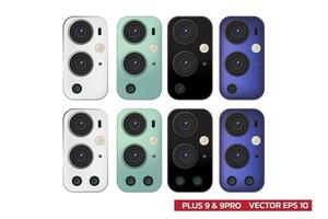 triple objectif et quatre lentilles de maquette de caméra de couleur différente, noir blanc vert bleu, illustration vectorielle réaliste. vecteur