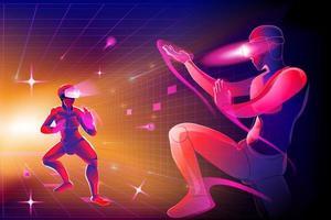 silhouette mans portant appareil de réalité virtuelle vr et jouer au corps à corps combat combat karaté, jujutsu, taekwondo, dans le monde vr, imagination contre dans le monde numérique, illustration vectorielle. vecteur