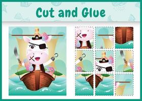 Jeu de société pour enfants couper et coller sur le thème de Pâques avec une illustration de personnage de licorne pirate mignon sur le navire vecteur