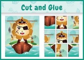 Jeu de société pour enfants découpé et collé sur le thème de Pâques avec une illustration de personnage de lion pirate mignon sur le navire vecteur