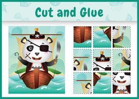 Jeu de société pour enfants découpé et collé sur le thème de Pâques avec une illustration de personnage de panda pirate mignon sur le navire vecteur