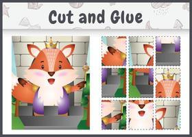 jeu de société pour enfants coupé et collé avec une illustration de personnage de renard roi mignon vecteur