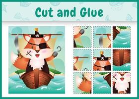 Jeu de société pour enfants couper et coller sur le thème de Pâques avec une illustration de personnage de renard pirate mignon sur le navire vecteur