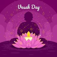 célébration vesak avec bougie et lotus vecteur