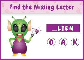 jeu d'orthographe éducatif pour les enfants qui trouve une lettre manquante avec un extraterrestre mignon vecteur