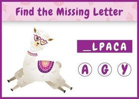jeu d'orthographe éducatif pour les enfants qui trouve une lettre manquante avec un alpaga mignon vecteur