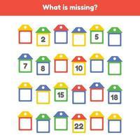 quel est le nombre manquant. feuille de calcul pour la maternelle des enfants. âge préscolaire et scolaire. maisons de couleur. vecteur