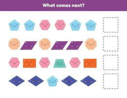 que ce passe t-il après. continuez la séquence. formes géométriques. feuille de calcul pour les enfants d'âge préscolaire, préscolaire et scolaire. vecteur