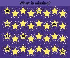 quel est le nombre manquant. feuille de calcul pour la maternelle des enfants. âge préscolaire et scolaire. étoiles. vecteur