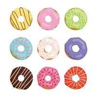 jeu de couleurs beignet sucré isolé sur fond blanc. collection de beignets. glaçage au chocolat, fraises, citron, pomme, vanille. vecteur
