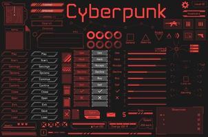 ensemble d'éléments prêts pour le jeu ui et hud dans un style numérique et cyberpunk. vecteur