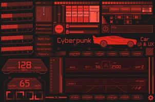 jeu d'élément d'interface utilisateur et hud dans un style cyberpunk. vecteur