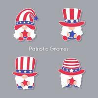 les gnomes patriotiques portent un chapeau haut de forme orné des étoiles rouges et bleues du drapeau américain. vecteur
