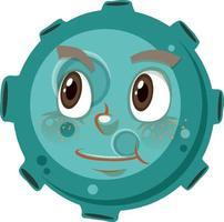 Personnage de dessin animé d'astéroïde avec une expression de visage réfléchie sur fond blanc vecteur