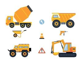 ensemble de voitures et de machines de construction pour les travaux de construction. illustration vectorielle. vecteur