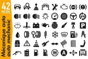 pictogrammes de signalisation sur le thème de la mécanique automobile vecteur