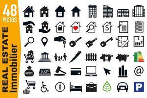 pictogrammes de signalisation pour le secteur immobilier vecteur