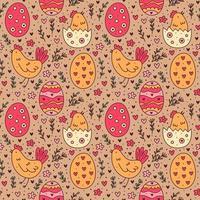 Joyeuses Pâques vacances doodle modèle sans couture. oeuf, poule, oiseau, herbes. conception de papier d'emballage. vecteur
