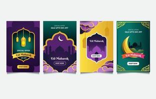 ensemble de cartes de vente eid mubarak vecteur