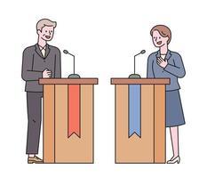 les candidats sont en discussion. vecteur