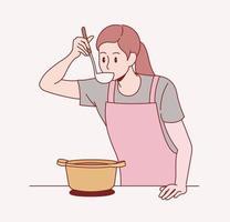 une femme tient une louche et goûte la nourriture dans le pot. vecteur