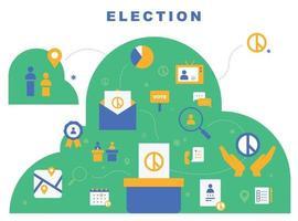 bannière d'affiche d'icônes électorales. vecteur