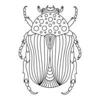 illustration de livre de coloriage linéaire alpin barbel beetle vecteur