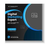 modèle de conception de publication de médias sociaux d'entreprise bleu moderne vecteur