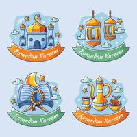 caricature de la collection d'étiquettes de ramadan vecteur