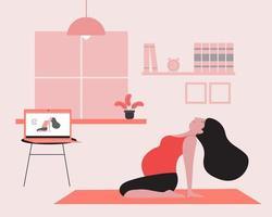 tutoriel de yoga en ligne pour femme enceinte vecteur