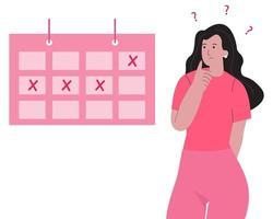 illustration de concept de période manquée. période mensuelle de la femme. vecteur