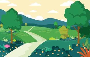printemps de la nature avec fond de paysage vecteur