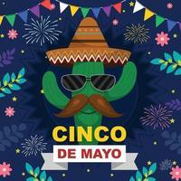 joyeux cinco de mayo avec caractère de cactus vecteur