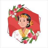 portrait de kartini avec couronne de fleurs et couronne florale vecteur
