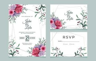 paquet de papeterie de mariage floral vecteur
