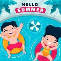 enfants heureux profitant de l'été dans la piscine vecteur
