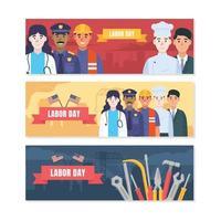 ensemble de conception de bannière plate fête du travail vecteur