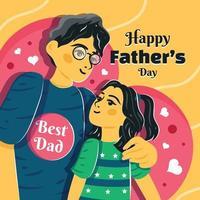 modèle de fête des pères où le père embrasse son enfant vecteur