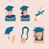 icône de graduation bleue vecteur