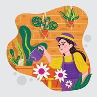 fille jardinage et arrosage des plantes et des fleurs vecteur