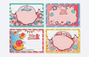 modèle de carte de baby shower bornday vecteur