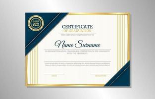 concept de mise en page de certificat de graduation bleu or vecteur