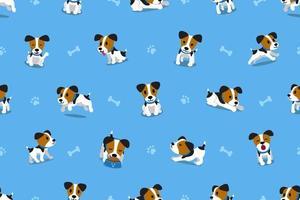 Modèle sans couture de vecteur dessin animé jack russell terrier chien